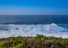 Σπάζοντας κύματα στην ακτή του ίχνους ενυδρίδων στον Ινδικό Ωκεανό Στοκ Φωτογραφία