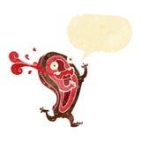 σπάνιος χαρακτήρας κινουμένων σχεδίων μπριζόλας με τη λεκτική φυσαλίδα Στοκ Εικόνες