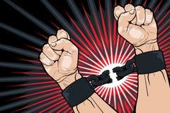 Σπάσιμο των δεσμών για την ελευθερία απεικόνιση αποθεμάτων