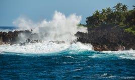 Σπάσιμο των κυμάτων στη Hana Maui Χαβάη Στοκ Φωτογραφίες