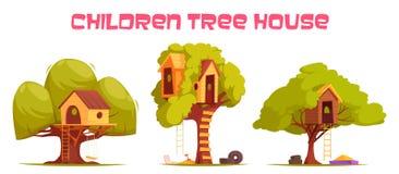 Σπίτια δέντρων καθορισμένα ελεύθερη απεικόνιση δικαιώματος