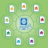 σπίτια δικτυωμένα διανυσματική απεικόνιση