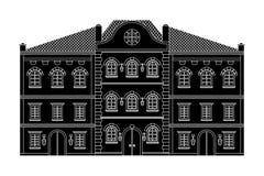 σπίτια ευρωπαϊκός παλαιός κτηρίων μαύρο σχέδιο Στοκ φωτογραφία με δικαίωμα ελεύθερης χρήσης