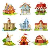 Σπίτια και κάστρα Διανυσματικά εικονίδια κτηρίων καθορισμένα διανυσματική απεικόνιση