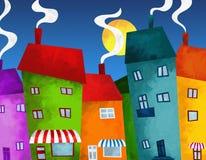Σπίτια και καταστήματα απεικόνιση αποθεμάτων