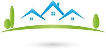 Σπίτια και λογότυπο λιβαδιών, κτηματομεσιτών και ακίνητων περιουσιών