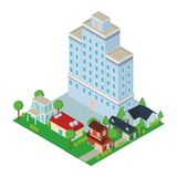 Σπίτια και οικοδομήματα isometric ελεύθερη απεικόνιση δικαιώματος