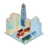 Σπίτια και οικοδομήματα isometric διανυσματική απεικόνιση