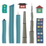 Σπίτια και ουρανοξύστες καθορισμένοι Στοκ εικόνες με δικαίωμα ελεύθερης χρήσης