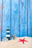 Σπίτια και φάρος παραλιών Στοκ Εικόνες