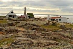 Σπίτια και φάρος Polonio Cabo Στοκ φωτογραφία με δικαίωμα ελεύθερης χρήσης