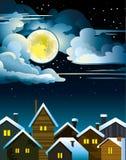 Σπίτια και φεγγάρι νύχτας Απεικόνιση αποθεμάτων