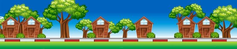 Σπίτια κατά μήκος της οδού ελεύθερη απεικόνιση δικαιώματος