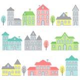 Σπίτια κρητιδογραφιών Στοκ φωτογραφία με δικαίωμα ελεύθερης χρήσης