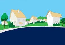 Σπίτια με τα πράσινες δέντρα και τη χλόη Στοκ Εικόνες