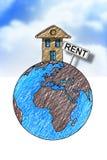 Σπίτια μισθώματος σε όλο τον κόσμο Εικόνα έννοιας με το σπίτι πάνω από Στοκ Εικόνες