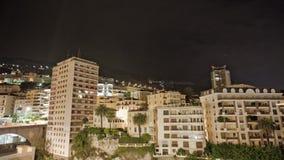 Σπίτια νύχτα-σφάλματος του Μόντε Κάρλο κωμοπόλεων πόλεων του Μονακό απόθεμα βίντεο