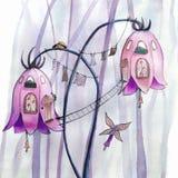 Σπίτια λουλουδιών νεράιδων ελεύθερη απεικόνιση δικαιώματος