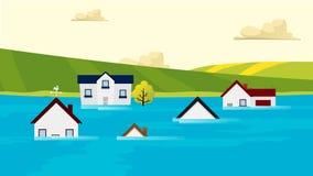 Σπίτια που πλημμυρίζουν κάτω από το διάνυσμα νερού δασικό πεύκο φύσης πυρκαγιάς καταστροφής παγκόσμια αύξηση της θερμ&omic Στοκ φωτογραφία με δικαίωμα ελεύθερης χρήσης