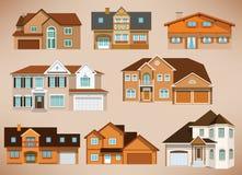 Σπίτια πόλεων (αναδρομικά χρώματα) Στοκ εικόνες με δικαίωμα ελεύθερης χρήσης