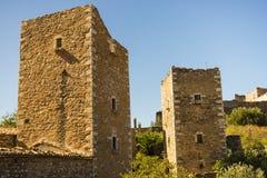 Σπίτια πύργων στη χερσόνησο Vathia Ελλάδα Mani στοκ εικόνες