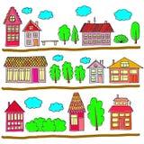 Σπίτια σε μια οδό Απεικόνιση ενός τοπίου πόλεων με το townho Στοκ Εικόνα