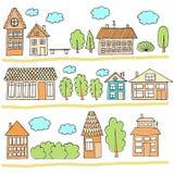 Σπίτια σε μια οδό Απεικόνιση ενός τοπίου πόλεων με townhouse Ύφος Doodle Στοκ Εικόνα
