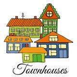 Σπίτια σε μια οδό Απεικόνιση ενός τοπίου πόλεων με townhouse Ύφος Doodle Στοκ Εικόνες