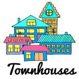 Σπίτια σε μια οδό Απεικόνιση ενός τοπίου πόλεων με townhouse Ύφος Doodle Στοκ φωτογραφία με δικαίωμα ελεύθερης χρήσης