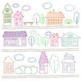 Σπίτια σε μια οδό Απεικόνιση ενός τοπίου πόλεων Στοκ Εικόνα