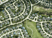 Σπίτια, σπίτια, γειτονιά, εναέρια άποψη Στοκ Φωτογραφία