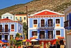 Σπίτια στην πόλη Kastellorizo, νησί Kastellorizo, Ελλάδα Στοκ εικόνα με δικαίωμα ελεύθερης χρήσης