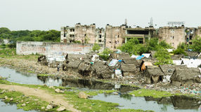 Σπίτια στο φτωχό μέρος της Ινδίας Στοκ Εικόνα