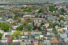 Σπίτια της Βοστώνης Charlestown, Μασαχουσέτη, ΗΠΑ στοκ φωτογραφίες