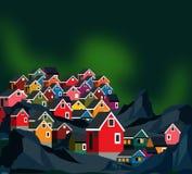 Σπίτια της Γροιλανδίας με τα borealis αυγής απεικόνιση αποθεμάτων