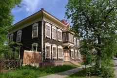 σπίτια Τομσκ ξύλινο Στοκ Εικόνα