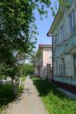 σπίτια Τομσκ ξύλινο Στοκ Φωτογραφία