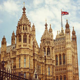 Σπίτια του Κοινοβουλίου στο Λονδίνο Αναδρομική επίδραση φίλτρων Στοκ Εικόνες