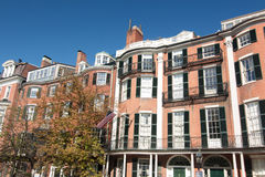 Σπίτια υπόλοιπου κόσμου Hill αναγνωριστικών σημάτων στη Βοστώνη, Μασαχουσέτη στοκ φωτογραφία με δικαίωμα ελεύθερης χρήσης