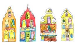 Σπίτια Χαρούμενα Χριστούγεννας στο λευκό - λαμπρά απεικόνιση watercolor Στοκ Εικόνα