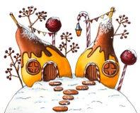 Σπίτια χειμερινών αχλαδιών με τα μούρα και τις καραμέλες διανυσματική απεικόνιση