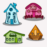 Σπίτια, ύφος κινούμενων σχεδίων Στοκ φωτογραφία με δικαίωμα ελεύθερης χρήσης