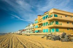 Σπίτια Beachfront στην αυτοκρατορική παραλία, Καλιφόρνια Στοκ Εικόνες