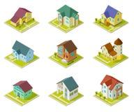 σπίτια isometric Αγροτικά σπίτια, κτήριο και εξοχικά σπίτια τρισδιάστατο αστικό εξωτερικό διανυσματικό σύνολο κατοικίας ελεύθερη απεικόνιση δικαιώματος