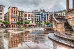 Σπίτια Plaza del Castillo στο Παμπλόνα Στοκ Εικόνα