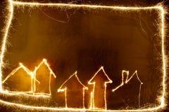 Σπίτια Sparkler Στοκ φωτογραφία με δικαίωμα ελεύθερης χρήσης
