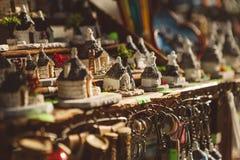 Σπίτια Trulli μικρογραφιών στοκ φωτογραφίες