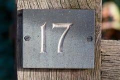 Σπίτι αριθμός 17 σημάδι Στοκ Φωτογραφία