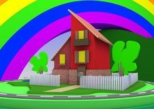 Σπίτι αρχιτεκτονικής κινούμενων σχεδίων με ένα μεγάλο τοπίο και ένα ουράνιο τόξο Διανυσματική απεικόνιση