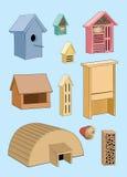 Σπίτι για τα πουλιά, το σκαντζόχοιρο και το έντομο σπίτι κήπων ελεύθερη απεικόνιση δικαιώματος